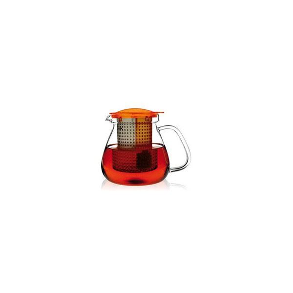 Tetera cristal con filtro 1 Litro naranja